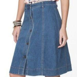 Chaps high-waisted A line denim skirt